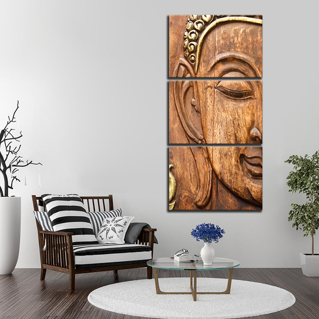 wooden buddha multi panel canvas wall art elephantstock. Black Bedroom Furniture Sets. Home Design Ideas