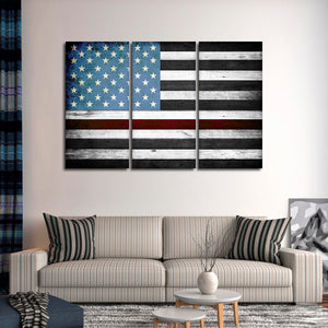 Wooden Firefighter Flag Multi Panel Canvas Wall Art - Firefighters
