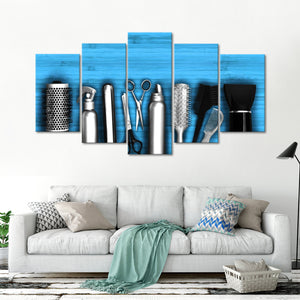 Wooden Hairdresser Tools Multi Panel Canvas Wall Art - Hair