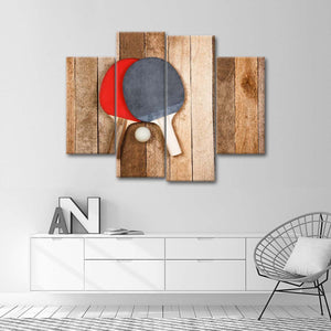 Wooden Ping Pong Multi Panel Canvas Wall Art - Kids