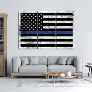 Wooden Police Flag Multi Panel Canvas Wall Art - Police