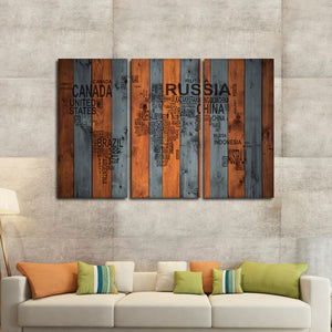 Wooden Typography Map Multi Panel Canvas Wall Art - World_map