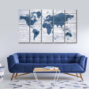 Wooden World Map II Multi Panel Canvas Wall Art - World_map