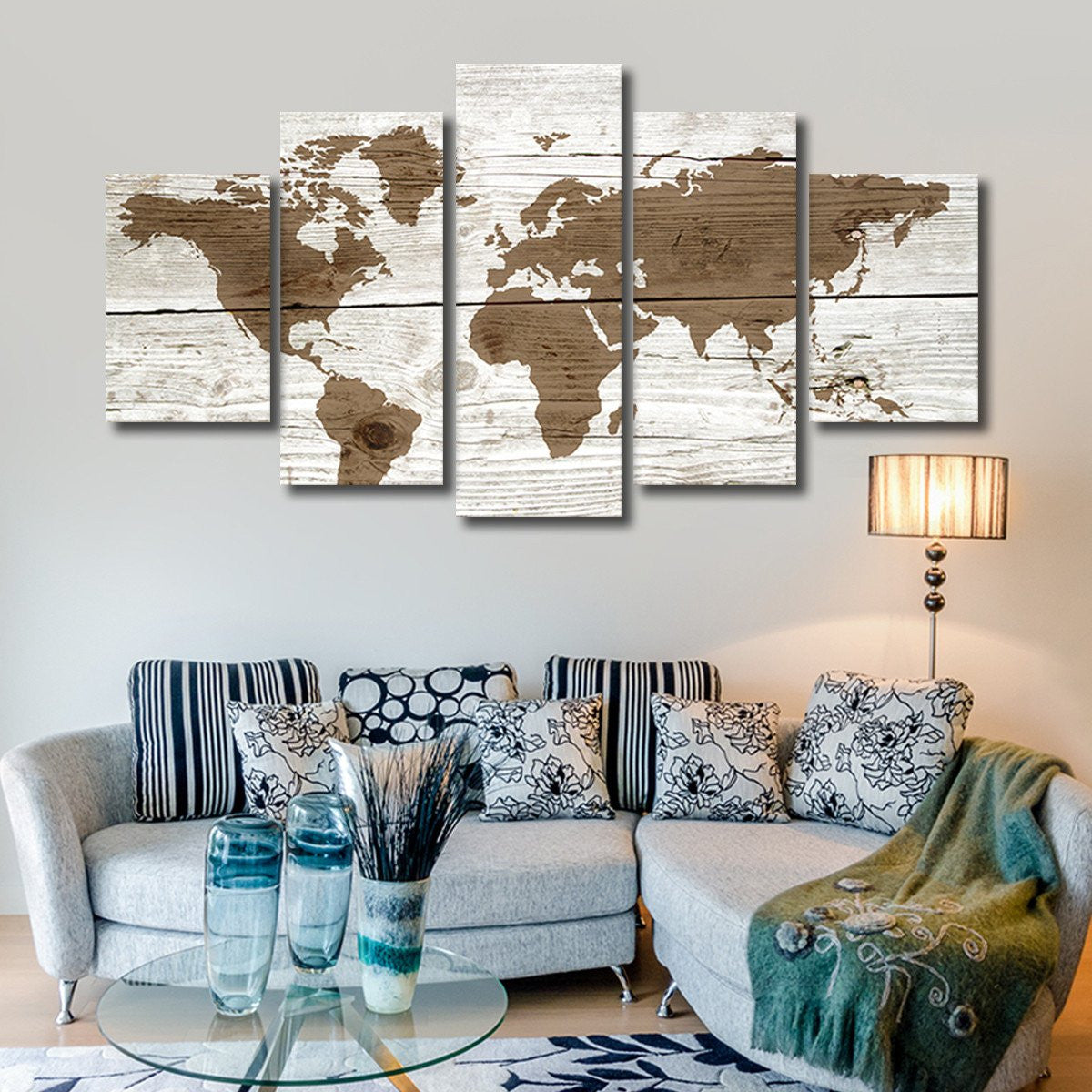 World map canvas prints elephantstock wooden world map multi panel canvas wall art worldmap gumiabroncs Choice Image