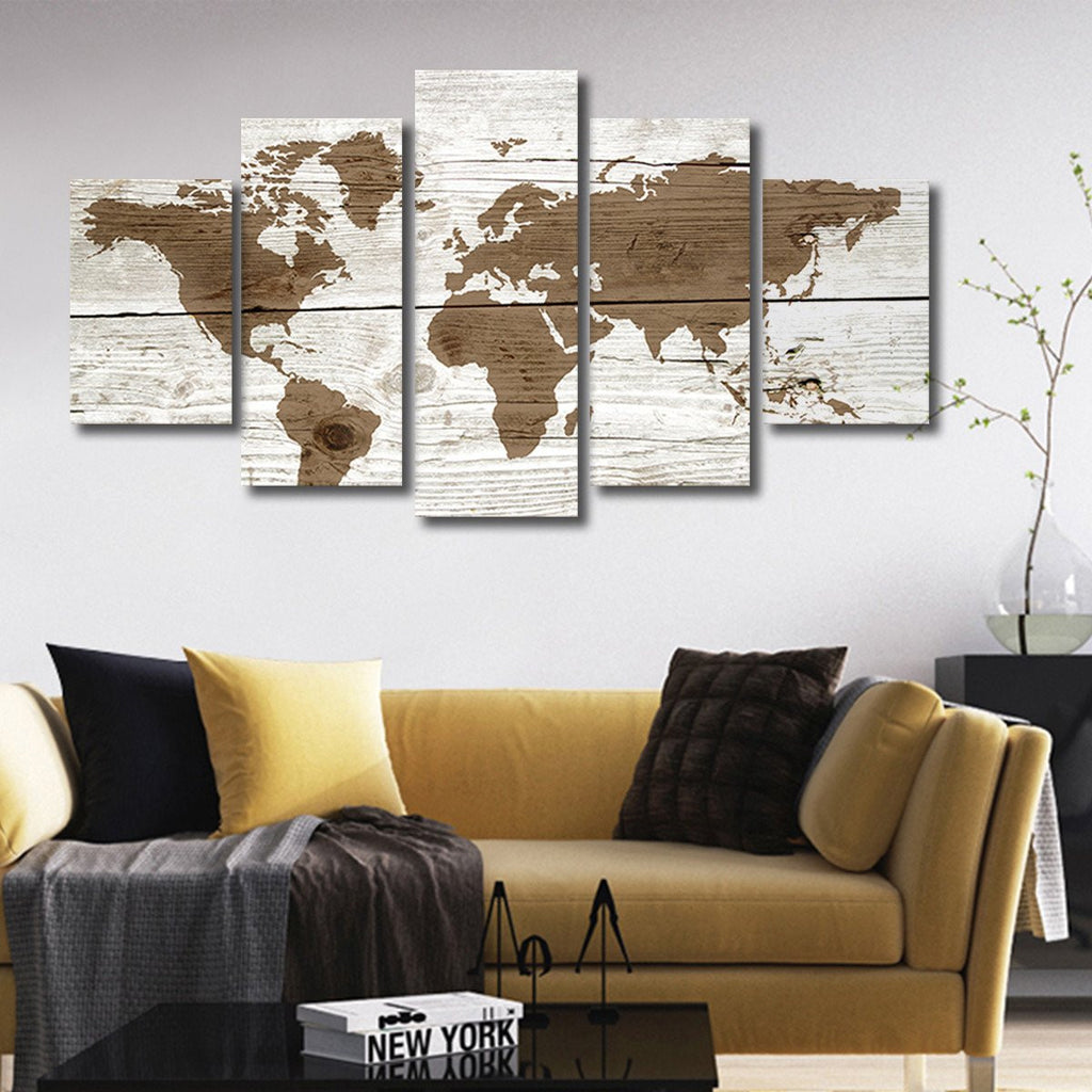 Wooden World Map Multi Panel Canvas Wall Art