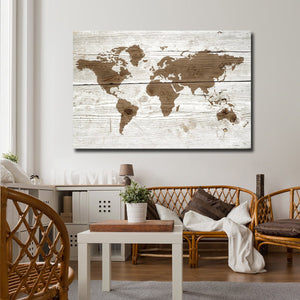 Wooden World Map Multi Panel Canvas Wall Art - World_map