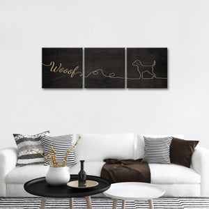 Woof Multi Panel Canvas Wall Art - Dog
