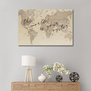 World Is Your Oyster Canvas Wall Art - World_map