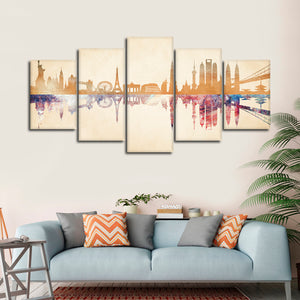 World Landmarks Reflection Multi Panel Canvas Wall Art - Landmarks