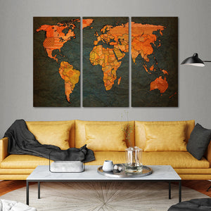 World Map Flags Multi Panel Canvas Wall Art - World_map