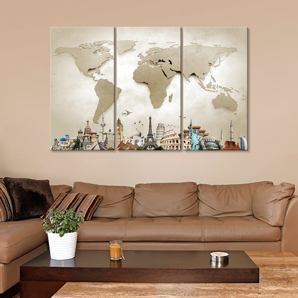 World Map Masterpiece with Church Multi Panel Canvas Wall Art ...