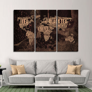 World Of Coffee And Tea Multi Panel Canvas Wall Art - Coffee