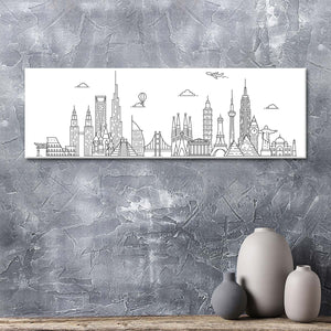 World Skyline Illustration Multi Panel Canvas Wall Art - World_map