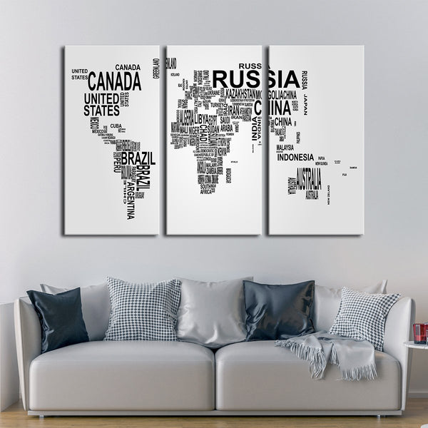World typography map multi panel canvas wall art elephantstock world typography map multi panel canvas wall art gumiabroncs Image collections