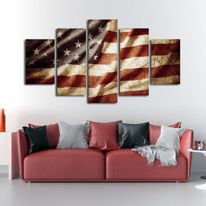 Worn American Flag Multi Panel Canvas Wall Art - America