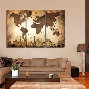 Wrinkled Vintage World Map Masterpiece Multi Panel Canvas Wall Art - World_map