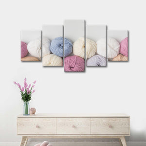 Yarn Rolls Multi Panel Canvas Wall Art - Fabric