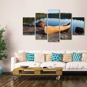 Yellow Canoe Multi Panel Canvas Wall Art - Kayak