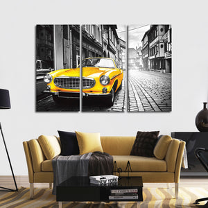 Yellow Car Multi Panel Canvas Wall Art - Car