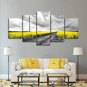 Yellow Fields Pop Multi Panel Canvas Wall Art - Flower