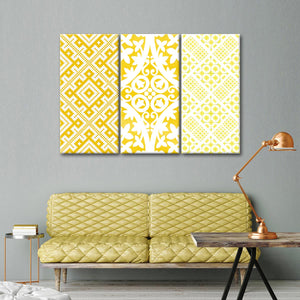 Yellow Pattern Multi Panel Canvas Wall Art - Fabric
