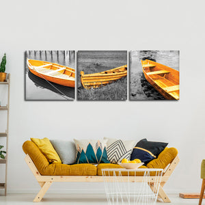 Yellow Boats Canvas Set Wall Art - Boat