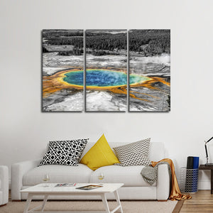 Yellowstone Hot Springs Pop Multi Panel Canvas Wall Art - Nature