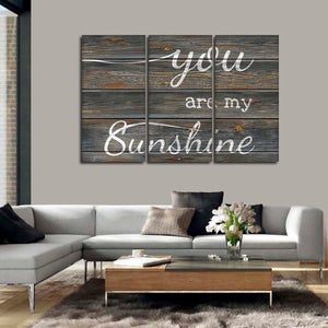 You Are My Sunshine Grey Multi Panel Canvas Wall Art - Inspiration