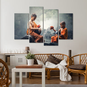 Young Buddhist Monks Multi Panel Canvas Wall Art - Buddhism