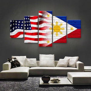 Philippines And USA Flag Multi Panel Canvas Wall Art - Philippines