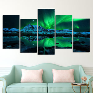 Aurora Mountain Scape Multi Panel Canvas Wall Art - Aurora