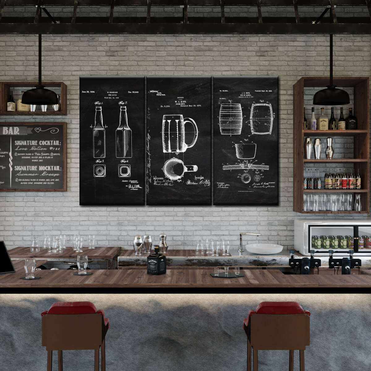 Beer Patent Compilation BW Multi Panel Canvas Wall Art