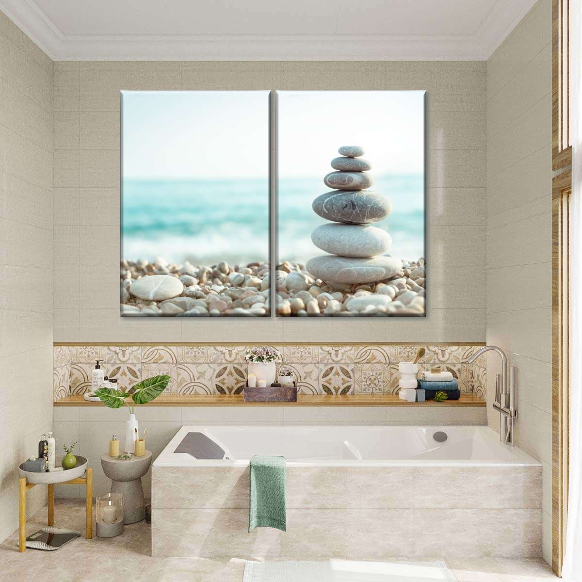 Stacked Beach Pebbles Multi Panel Canvas Wall Art