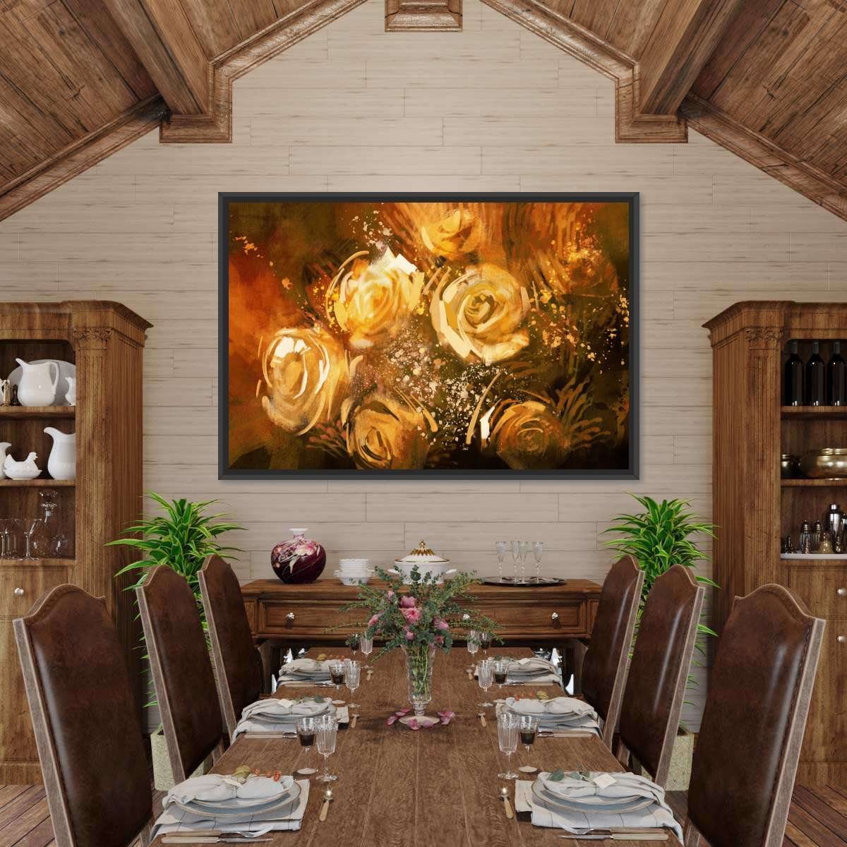 Abstract Gold Roses Multi Panel Canvas Wall Art