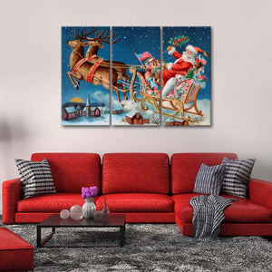 Santa Claus Multi Panel Canvas Wall Art - Xms