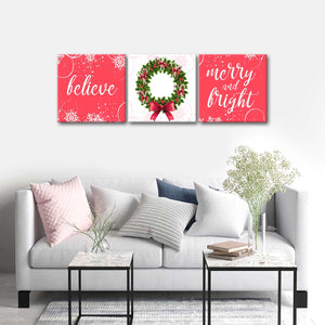 Merry and Bright Multi Panel Canvas Wall Art - Xms