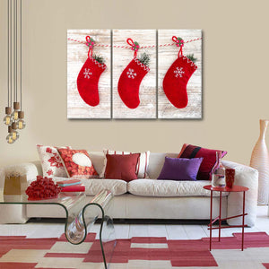 Christmas Stockings Multi Panel Canvas Wall Art - Xms