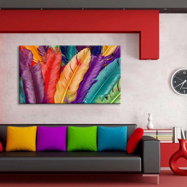 Feathers In Colors Multi Panel Canvas Wall Art & Feathers In Colors Multi Panel Canvas Wall Art | ElephantStock