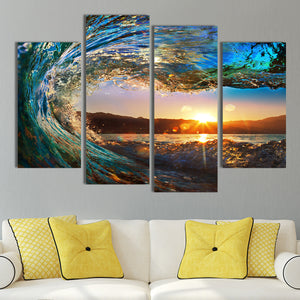 Great Wave Multi Panel Canvas Wall Art - Surfing