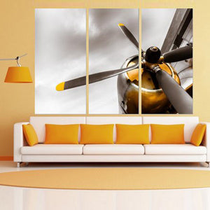 Orange Engine Multi Panel Canvas Wall Art - Airplane