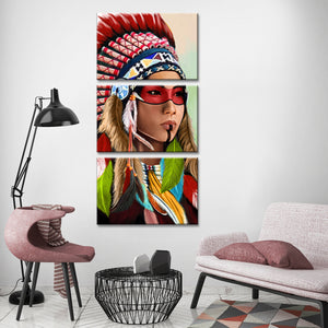Indian Woman Multi Panel Canvas Wall Art - Native_american