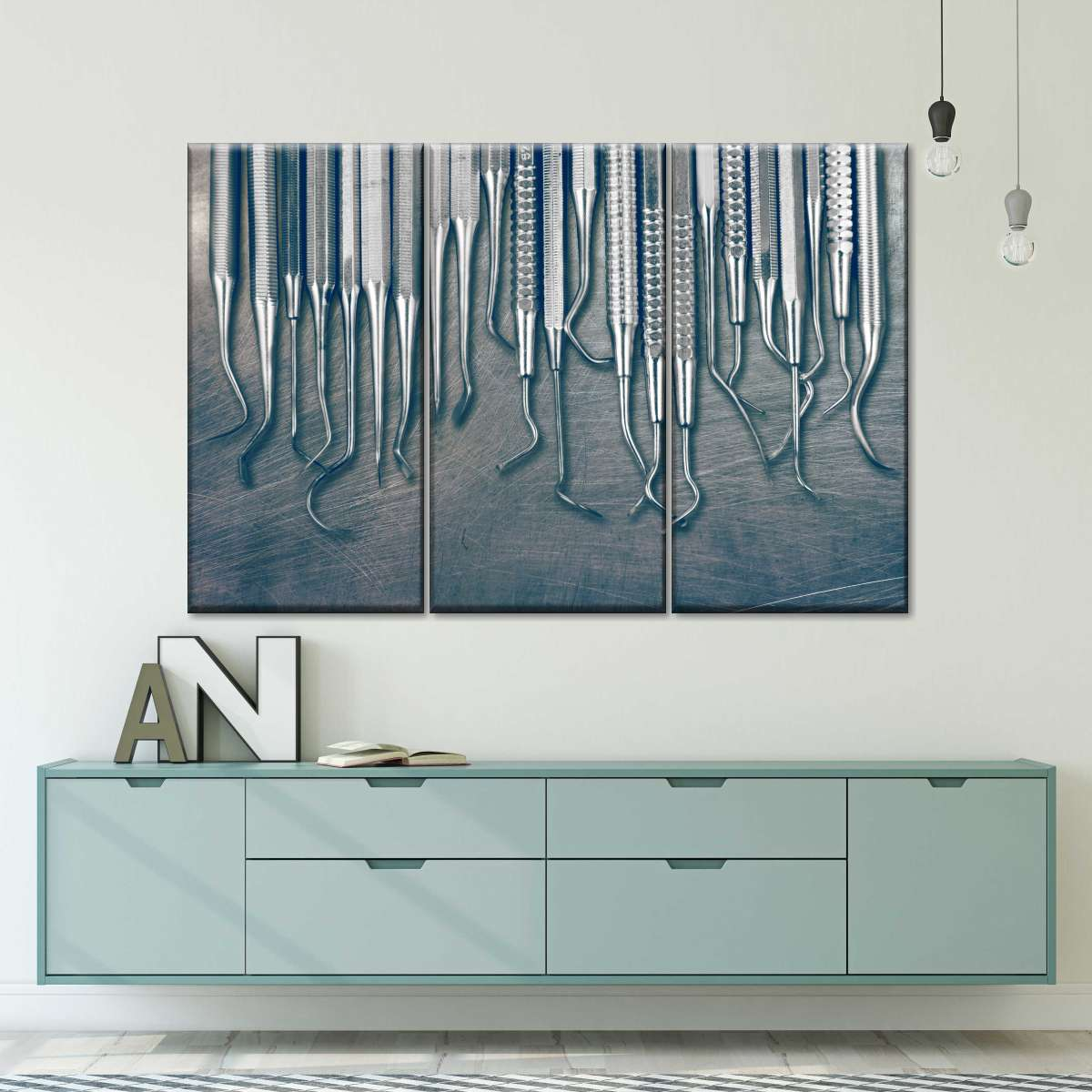 Titanium Dental Tools Multi Panel Canvas Wall Art