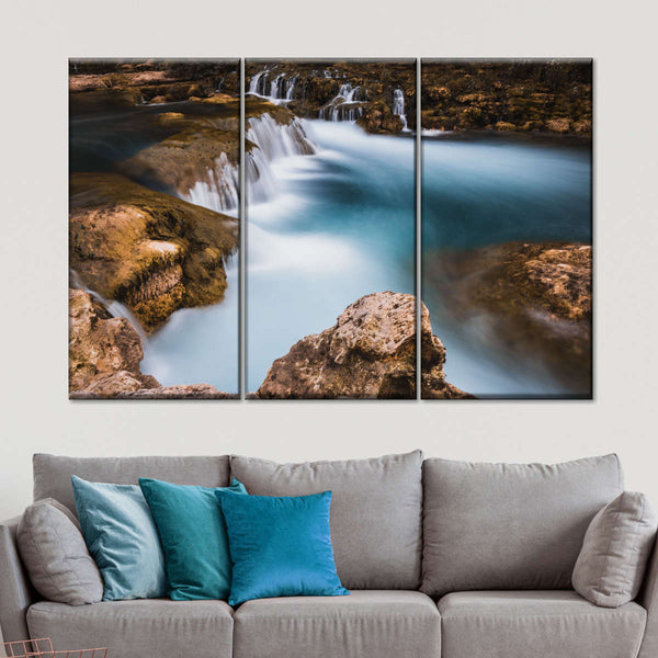 WATERFALL SUNSET RELAXING 3 PANELS CANVAS PRINT READY TO HANG
