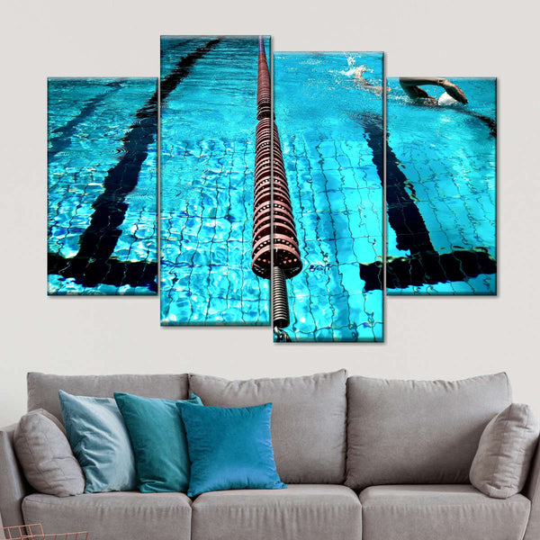 Into The Pool Multi Panel Canvas Wall Art