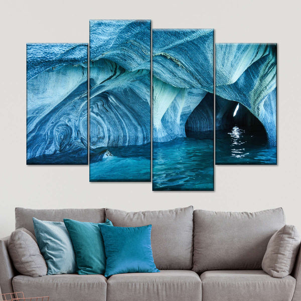 Turquoise Marble Cave Multi Panel Canvas Wall Art