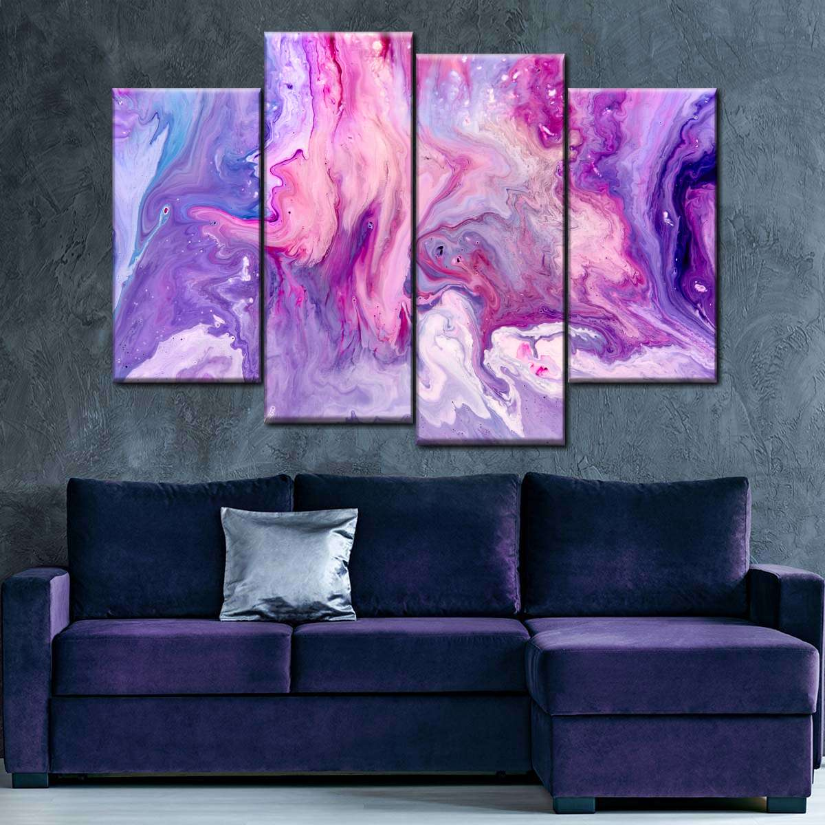 Lavender Whirl Ink Multi Panel Canvas Wall Art