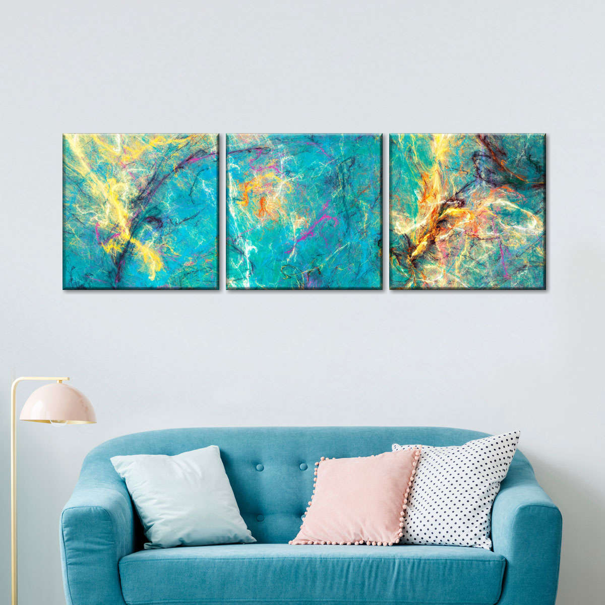 Abstract Ocean Painting Multi Panel Canvas Wall Art