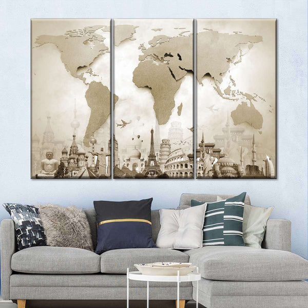 Copper World Map Masterpiece Multi Panel Canvas Wall Art