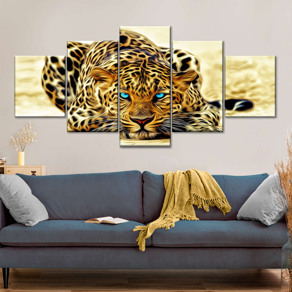 Blue Eyed Jaguar Multi Panel Canvas Wall Art