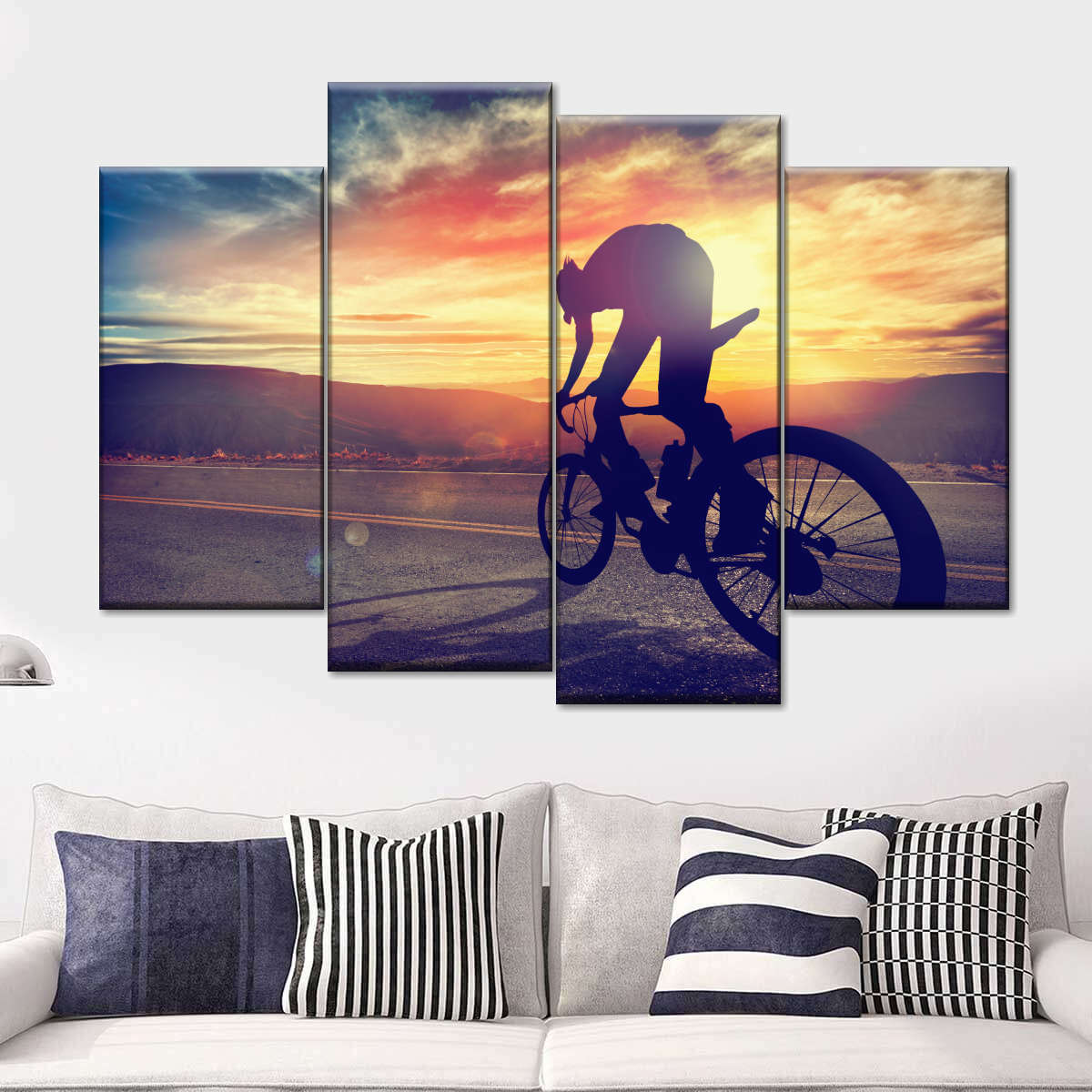 Road Cycling Multi Panel Canvas Wall Art